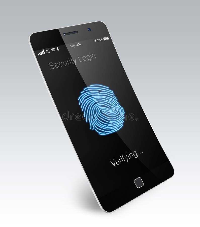 Επικύρωση δακτυλικών αποτυπωμάτων για το έξυπνο τηλέφωνο ελεύθερη απεικόνιση δικαιώματος