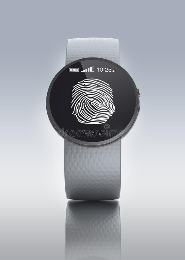 Επικύρωση δακτυλικών αποτυπωμάτων στο smartwatch απεικόνιση αποθεμάτων