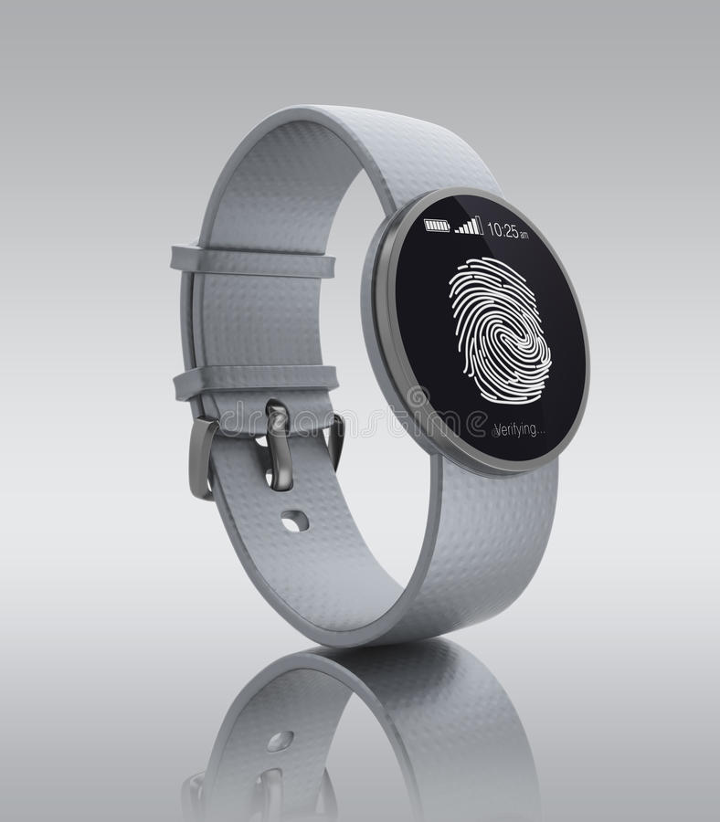 Επικύρωση δακτυλικών αποτυπωμάτων στο smartwatch διανυσματική απεικόνιση