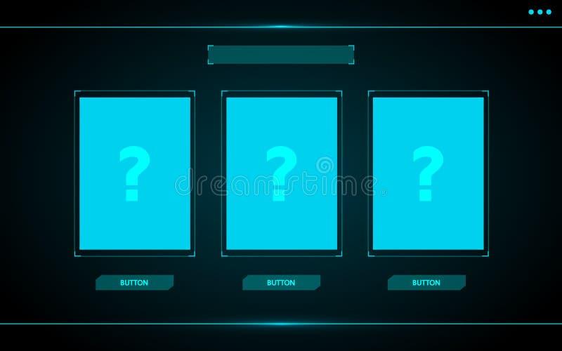 Επιλέξτε μια κάρτα, παιχνιδιών ui σχέδιο τεχνολογίας διεπαφών hud αφηρημένο διανυσματική απεικόνιση