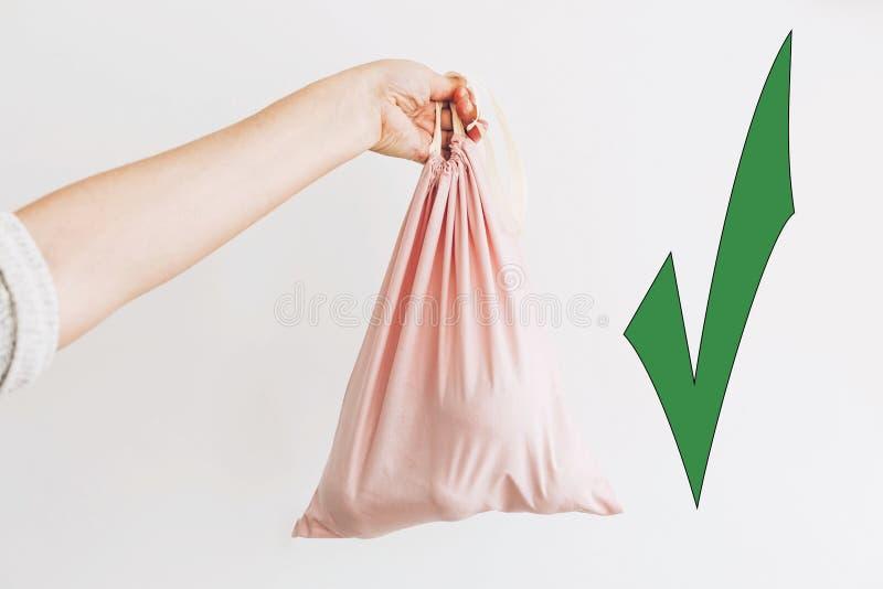 Επιλέξτε τις φιλικές φυσικές τσάντες eco, πράσινος εγκρίνετε Γυναίκα που κρατά τα διαθέσιμα παντοπωλεία χεριών στην επαναχρησιμοπ στοκ εικόνες
