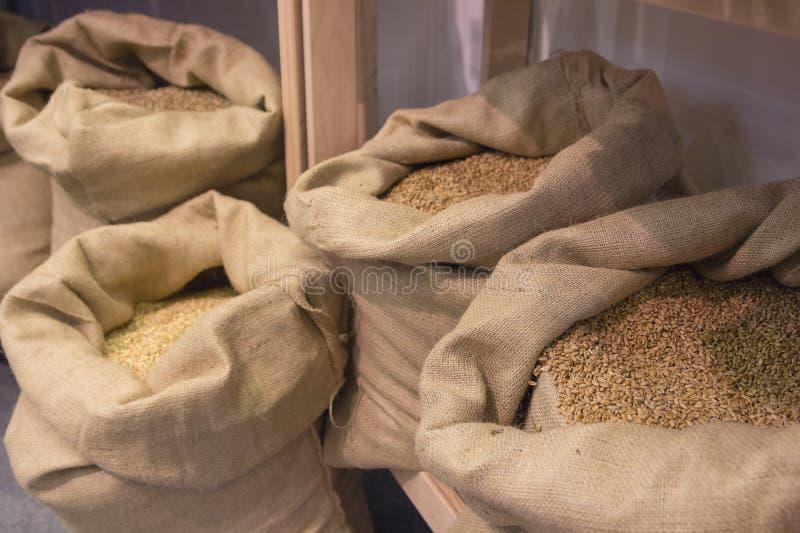 Επιλέξτε το σιτάρι στις τσάντες πρίν αλέθει στοκ εικόνα με δικαίωμα ελεύθερης χρήσης