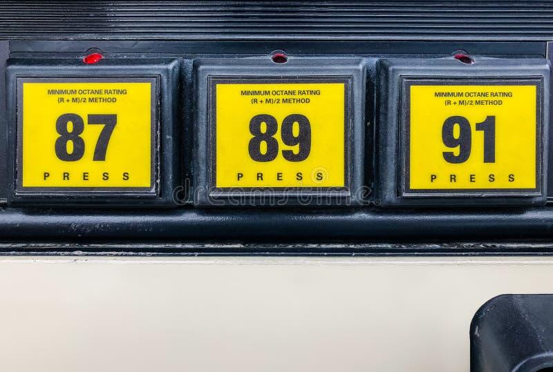 Επιλογέας εκτίμησης οκτανίου αντλιών αερίου στοκ φωτογραφίες