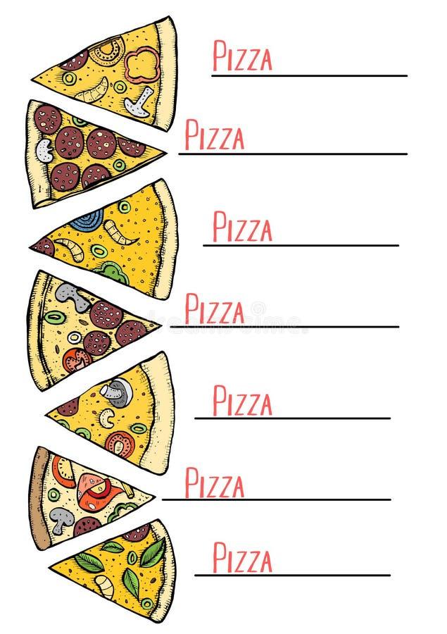Επιλογές για την πίτσα απεικόνιση αποθεμάτων