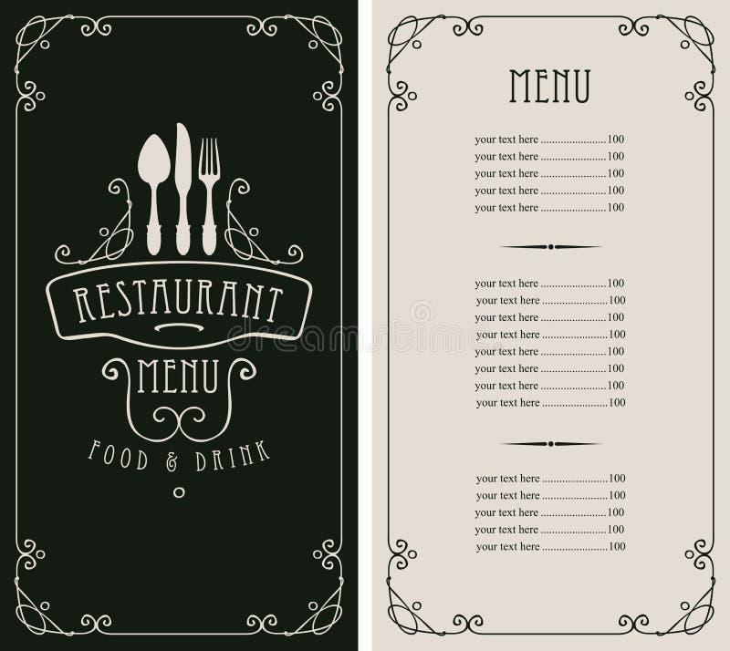 Επιλογές για το εστιατόριο με τον τιμοκατάλογο και flatware απεικόνιση αποθεμάτων