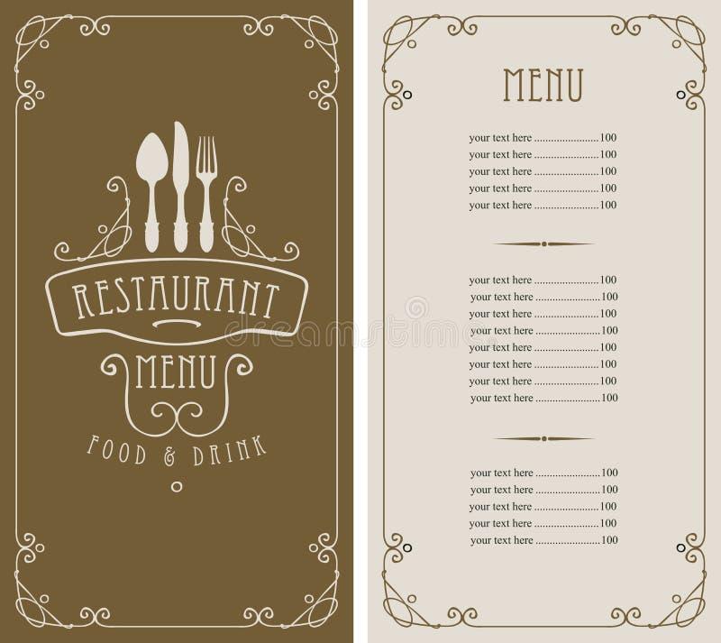 Επιλογές για το εστιατόριο με τον τιμοκατάλογο και flatware διανυσματική απεικόνιση