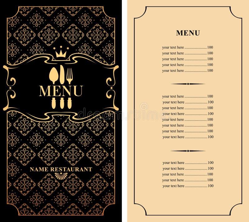 Επιλογές για το εστιατόριο με flatware και τον τιμοκατάλογο απεικόνιση αποθεμάτων
