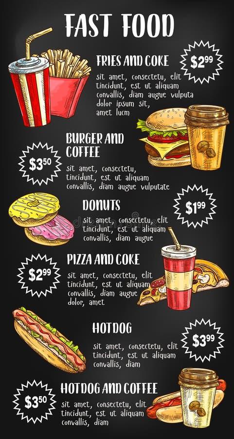 Επιλογές γρήγορου φαγητού στο σχέδιο πινάκων κιμωλίας διανυσματική απεικόνιση