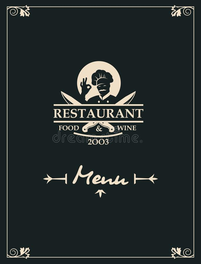 Επιλογές εστιατορίων με το σκεύος για την κουζίνα και τον αρχιμάγειρα διανυσματική απεικόνιση