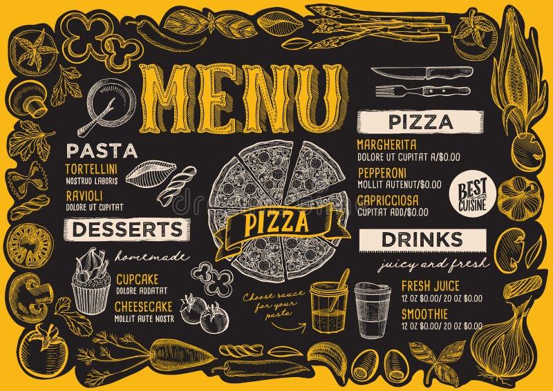 Επιλογές πιτσών για το εστιατόριο με το πλαίσιο των γραφικών λαχανικών ελεύθερη απεικόνιση δικαιώματος