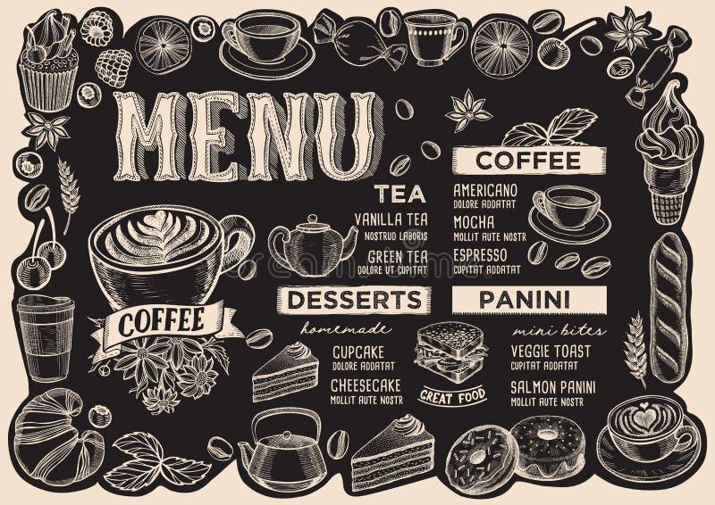 Επιλογές ποτών καφέ για το εστιατόριο με το πλαίσιο των hand-drawn φρούτων ελεύθερη απεικόνιση δικαιώματος