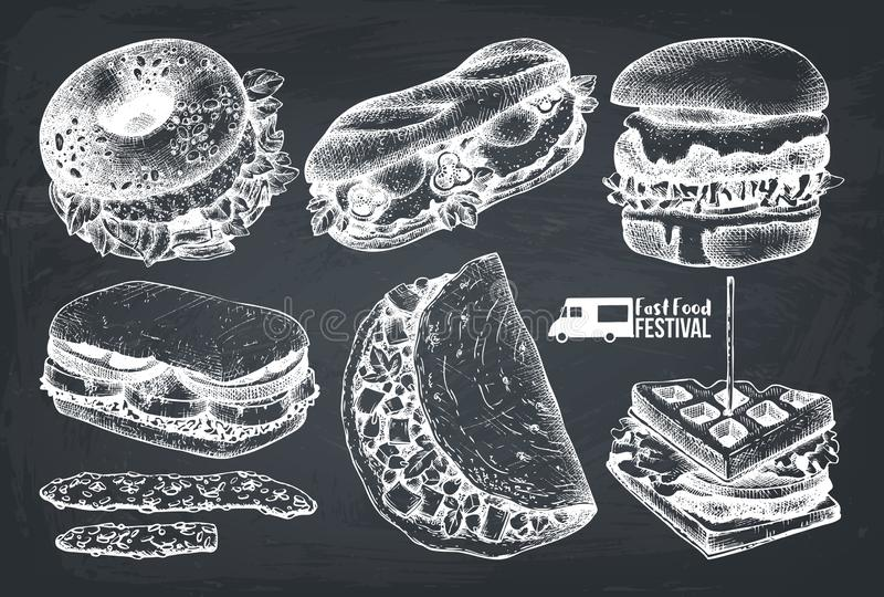 Επιλογές φεστιβάλ τροφίμων οδών Εκλεκτής ποιότητας συλλογή σκίτσων καθορισμένο taco πιτών γρήγορου φαγητού burrito kebab Χαραγμέν απεικόνιση αποθεμάτων