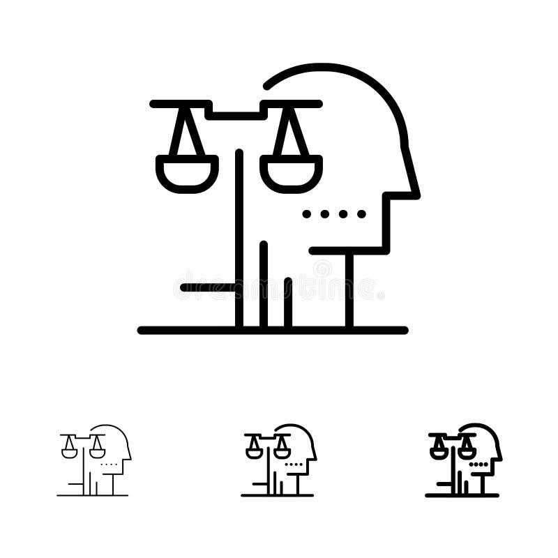 Επιλογή, δικαστήριο, άνθρωπος, κρίση, τολμηρό και λεπτό μαύρο σύνολο εικονιδίων γραμμών νόμου διανυσματική απεικόνιση