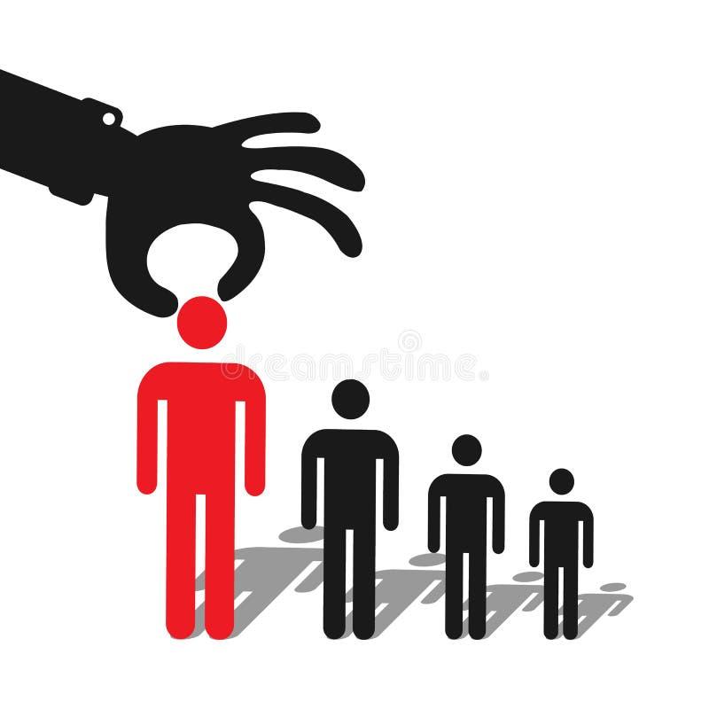 Επιλογή ενός υποψηφίου Εικονίδιο αύξησης σταδιοδρομίας στο επίπεδο σχέδιο απεικόνιση αποθεμάτων