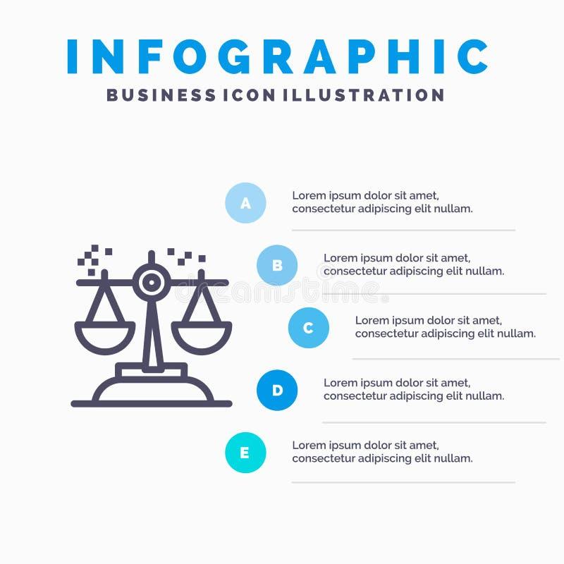 Επιλογή, συμπέρασμα, δικαστήριο, κρίση, εικονίδιο γραμμών νόμου με το υπόβαθρο infographics παρουσίασης 5 βημάτων διανυσματική απεικόνιση