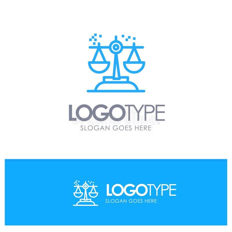Επιλογή, συμπέρασμα, δικαστήριο, κρίση, μπλε λογότυπο περιλήψεων νόμου με τη θέση για το tagline διανυσματική απεικόνιση