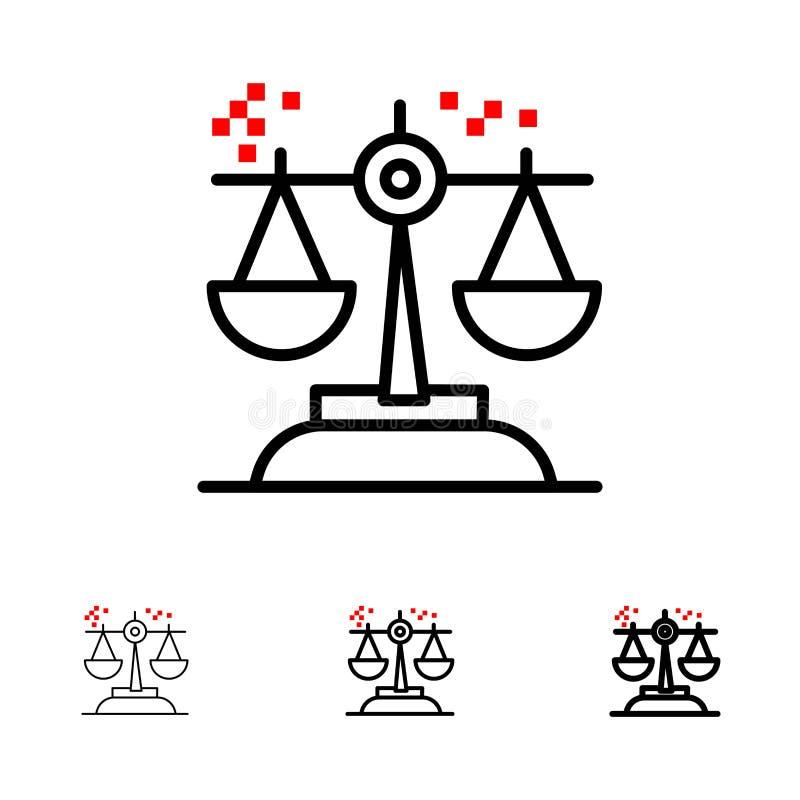 Επιλογή, συμπέρασμα, δικαστήριο, κρίση, τολμηρό και λεπτό μαύρο σύνολο εικονιδίων γραμμών νόμου ελεύθερη απεικόνιση δικαιώματος