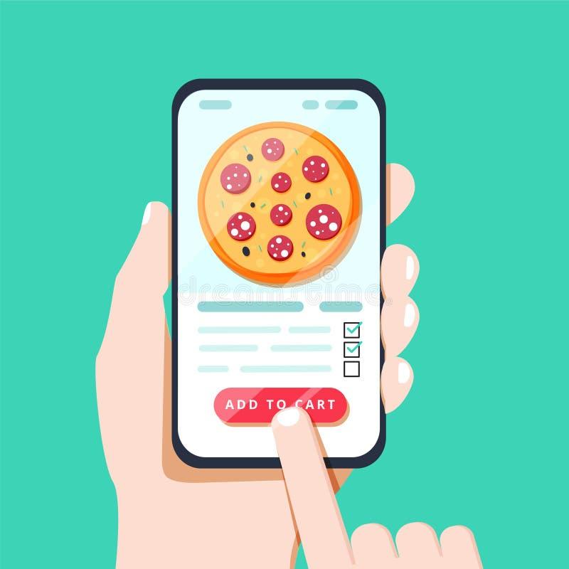 Επιλογή της πίτσας στο κινητό έξυπνο τηλέφωνο app Τρύπημα στην οθόνη που κάνει τη διαταγή παράδοσης πιτσών στην κατάλληλη εφαρμογ διανυσματική απεικόνιση