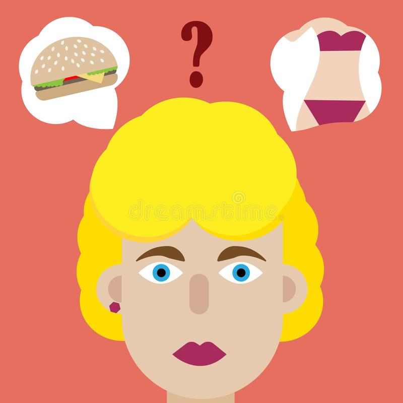 Επιλογή του χάμπουργκερ ή του αριθμού γυναικών Τι να επιλέξει; Νόστιμος για να φάει ή να έχει έναν όμορφο λεπτό αριθμό Επιλογή αλ ελεύθερη απεικόνιση δικαιώματος