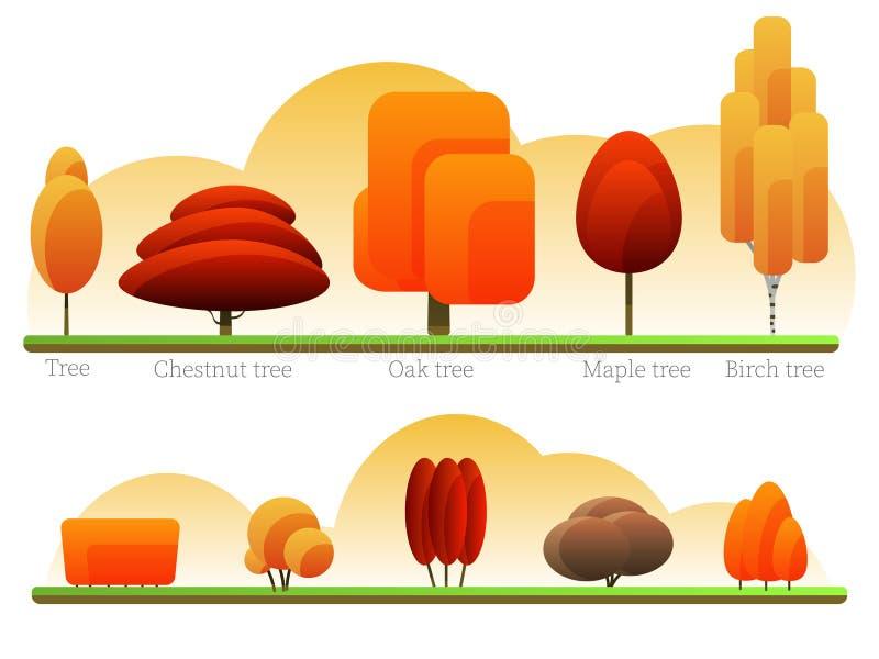 Επιλογή των δέντρων και των Μπους φθινοπώρου ελεύθερη απεικόνιση δικαιώματος