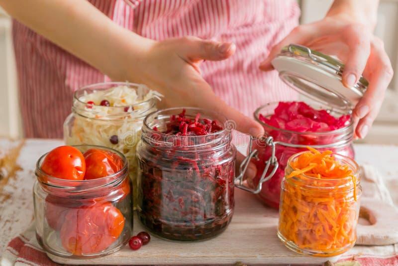 Επιλογή των ζυμωνομμένων τροφίμων - καρότο, λάχανο, ντομάτες, παντζάρια, διάστημα αντιγράφων στοκ εικόνα