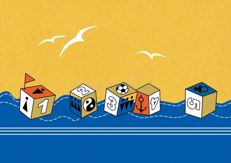 Επιπλέοντες κύβοι παιχνιδιών με την εικόνα των αριθμών, των σημαδιών των ανθρώπων, μιας άγκυρας και μιας σφαίρας Άσπρα πουλιά στο ελεύθερη απεικόνιση δικαιώματος