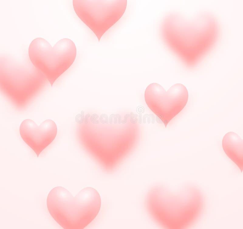 Επιπλέον ρόδινο υπόβαθρο καρδιών αγάπης απεικόνιση αποθεμάτων
