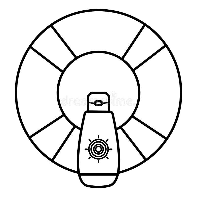 Επιπλέον σώμα lifeguard με τα ηλιακά blocker θερινά εξαρτήματα διανυσματική απεικόνιση