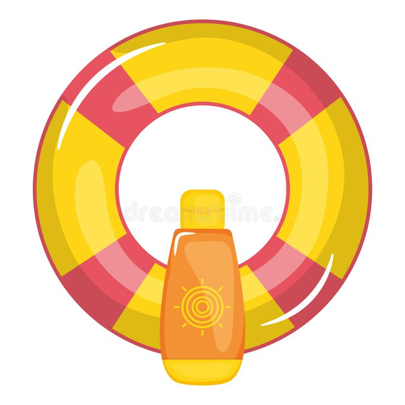 Επιπλέον σώμα lifeguard με το ηλιακό μπουκάλι bloquer διανυσματική απεικόνιση