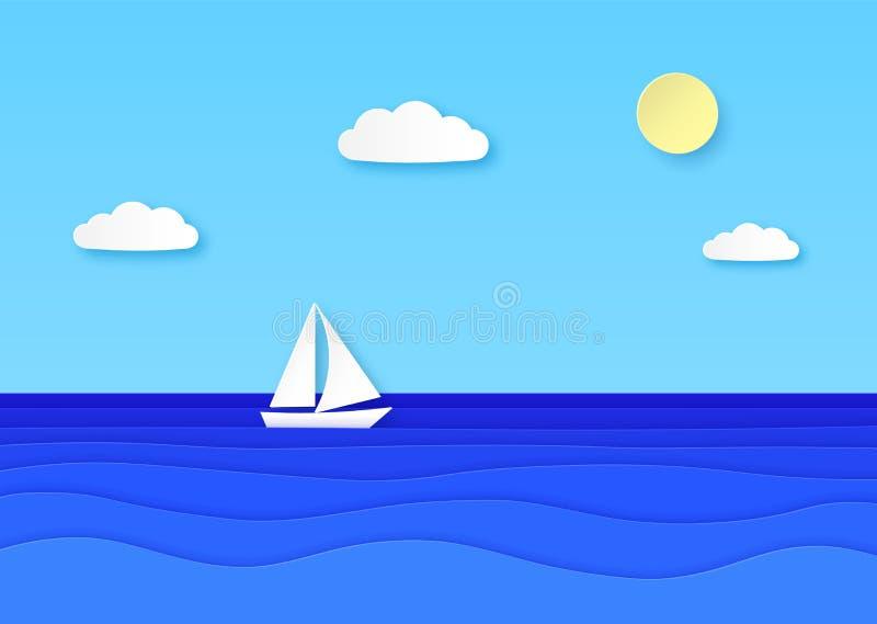 Επιπλέουσα θάλασσα βαρκών εγγράφου Νεφελώδης ουρανός με τον ήλιο, sailboat με το άσπρο πανί στα μπλε ωκεάνια κύματα Origami θεριν ελεύθερη απεικόνιση δικαιώματος