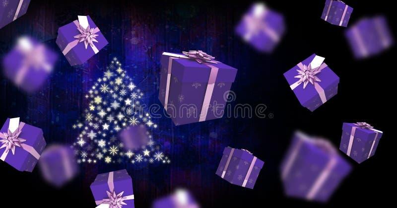Επιπλέουσα κιβωτίων και Snowflake δώρων μορφή σχεδίων χριστουγεννιάτικων δέντρων ελεύθερη απεικόνιση δικαιώματος