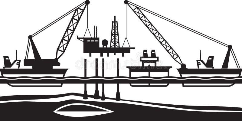Επιπλέουσα να τοποθετήσει γερανών πλατφόρμα άντλησης πετρελαίου στη θάλασσα απεικόνιση αποθεμάτων
