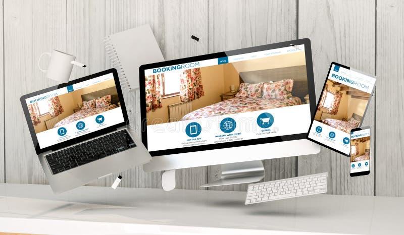 επιπλέουσες συσκευές στο γραφείο με τη φιλοξενία της αρχικής σελίδας στην οθόνη διανυσματική απεικόνιση