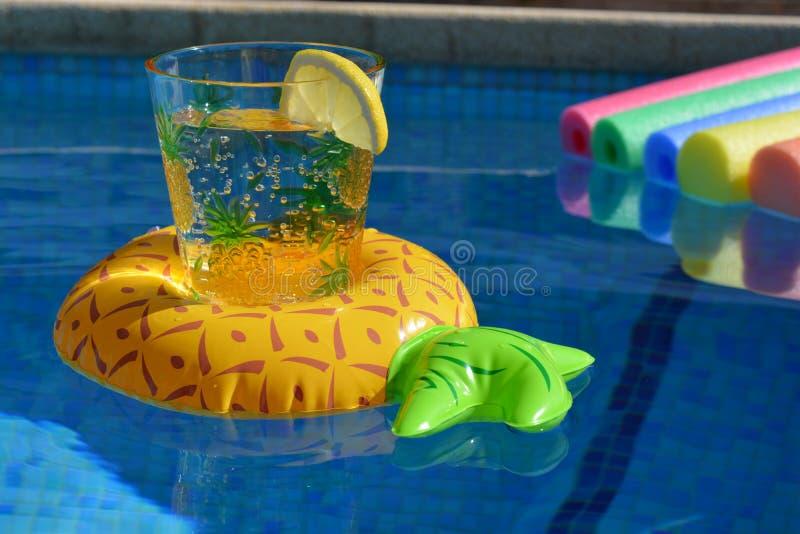 Επιπλέων κάτοχος ποτών ανανά και λαμπρά έγχρωμα νουντλς λιμνών σε μια πισίνα, κανένας άνθρωπος στοκ εικόνες με δικαίωμα ελεύθερης χρήσης