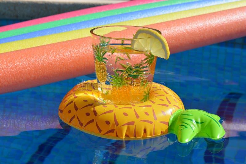 Επιπλέων κάτοχος ποτών ανανά και λαμπρά έγχρωμα νουντλς λιμνών σε μια πισίνα, κανένας άνθρωπος στοκ εικόνες