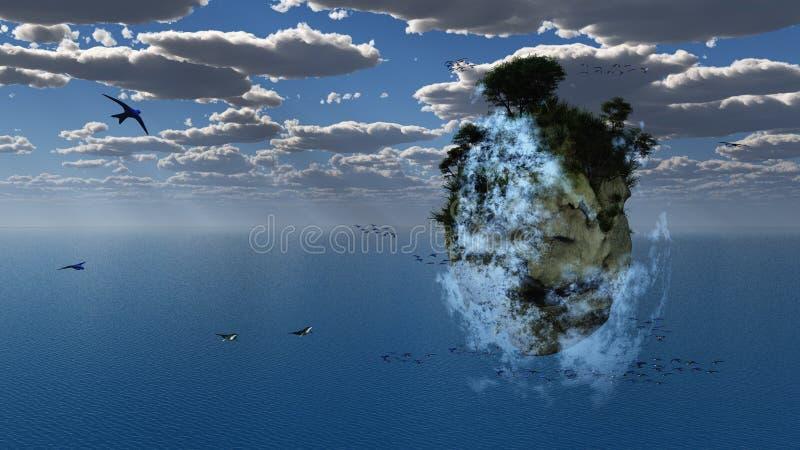 Επιπλέον νησί φαντασίας διανυσματική απεικόνιση