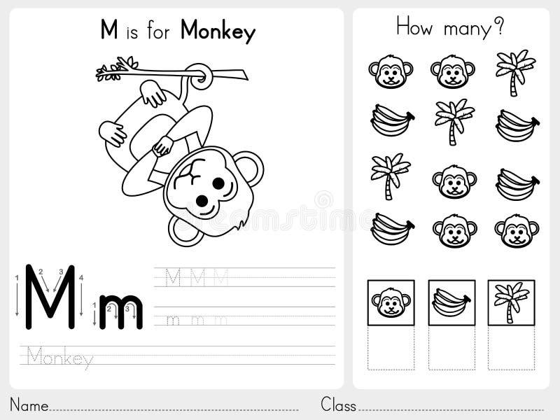 Επισήμανση αλφάβητου AZ και φύλλο εργασίας γρίφων, ασκήσεις για τα παιδιά - χρωματίζοντας βιβλίο ελεύθερη απεικόνιση δικαιώματος