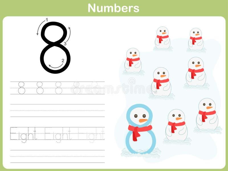Επισημαίνοντας φύλλο εργασίας αριθμού: Γράψιμο 0-9 απεικόνιση αποθεμάτων