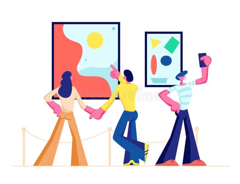 Επισκέπτες έκθεσης που βλέπουν τα σύγχρονα αφηρημένα έργα ζωγραφικής που κρεμούν στους τοίχους στη στοά σύγχρονης τέχνης Άνθρωποι διανυσματική απεικόνιση