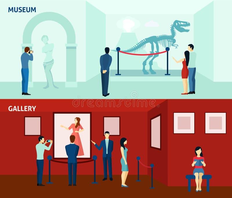 Επισκέπτες 2 μουσείων επίπεδη αφίσα εμβλημάτων απεικόνιση αποθεμάτων