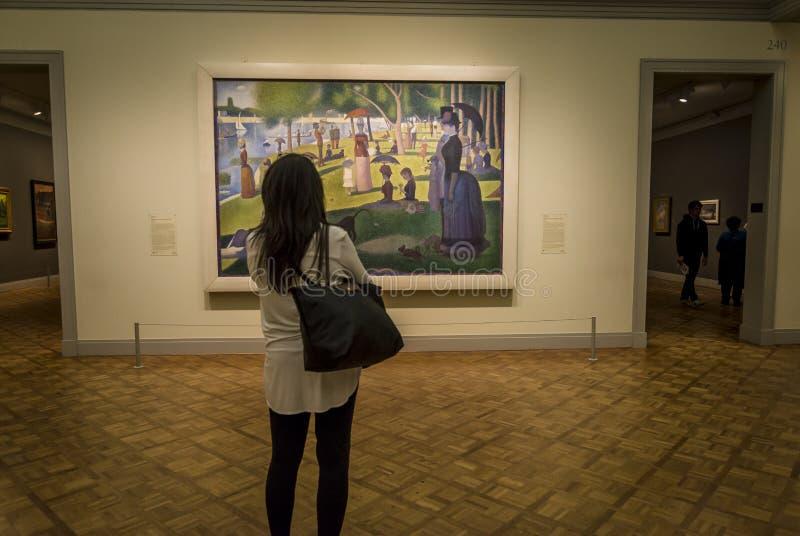 Επισκέπτης κοιτάζει τον Georges Seurat την Κυριακή στο La Grande Jatte, 1884 στοκ εικόνες με δικαίωμα ελεύθερης χρήσης