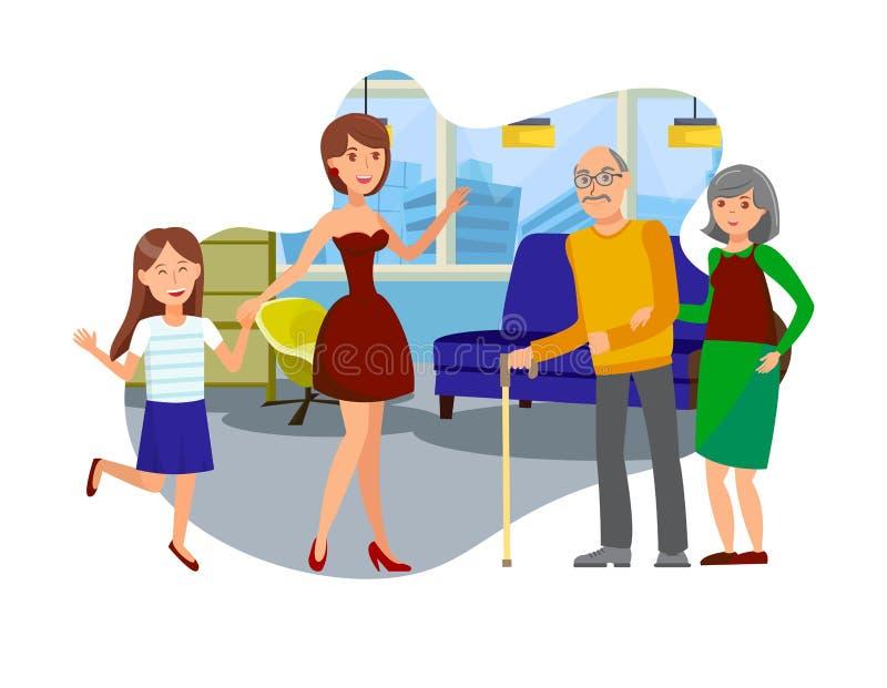 Επισκέψεις κορών στην ηλικιωμένη απεικόνιση γονέων διανυσματική απεικόνιση