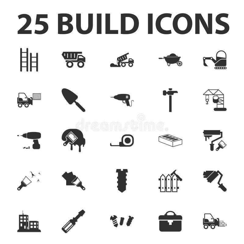 , Επισκευάστε 25 μαύρα απλά εικονίδια που τίθενται χτίστε για απεικόνιση αποθεμάτων