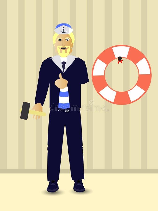 επισκευές Κρεμάστε το δαχτυλίδι ζωής μπλε θαλάσσιο άνευ ραφής θέμα θάλασσας ελεύθερη απεικόνιση δικαιώματος