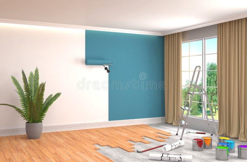 Επισκευή και ζωγραφική των τοίχων στο δωμάτιο τρισδιάστατη απεικόνιση ελεύθερη απεικόνιση δικαιώματος