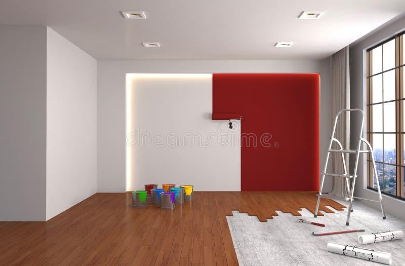 Επισκευή και ζωγραφική των τοίχων στο δωμάτιο τρισδιάστατη απεικόνιση απεικόνιση αποθεμάτων