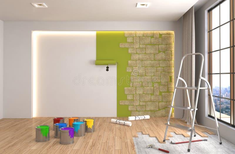Επισκευή και ζωγραφική των τοίχων στο δωμάτιο τρισδιάστατη απεικόνιση διανυσματική απεικόνιση