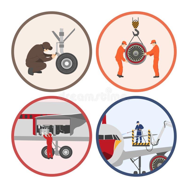 Επισκευή και συντήρηση των αεροσκαφών Σύνολο μερών αεροσκαφών σε ΛΦ ελεύθερη απεικόνιση δικαιώματος