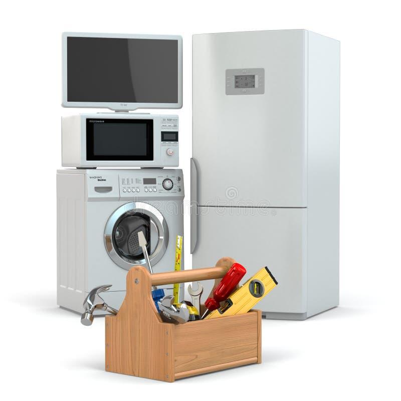 Επισκευή συσκευών. Εργαλειοθήκη και TV, ψυγείο, πλυντήριο ελεύθερη απεικόνιση δικαιώματος