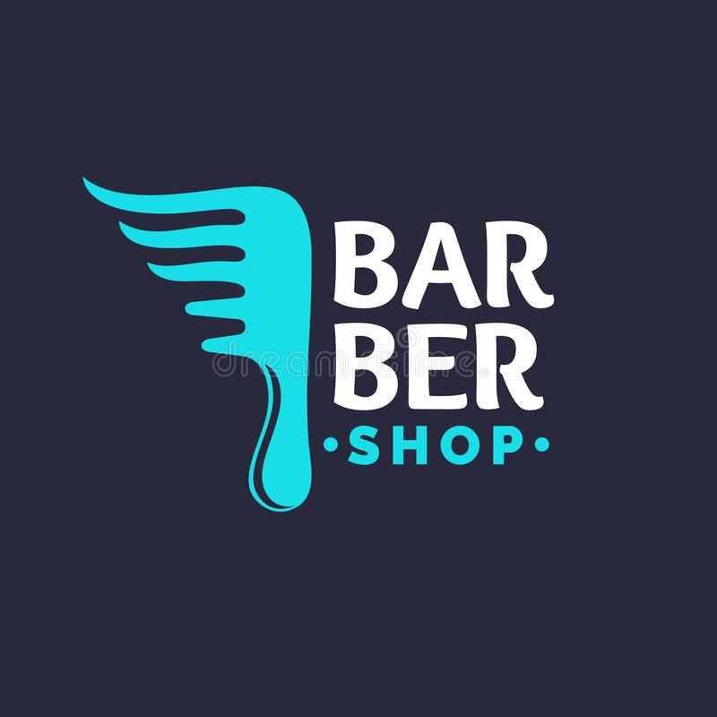 Επισκευή τρίχας Ένα φωτεινό λογότυπο για το κατάστημα κουρέων Στοιχεία στην κοπή και τον προσδιορισμό της τρίχας διανυσματική απεικόνιση